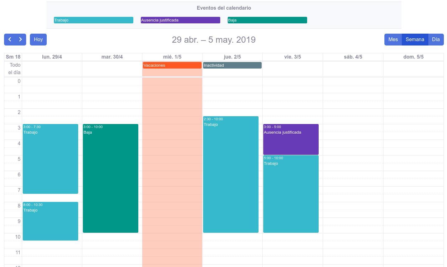 Vista calendario drag and drop